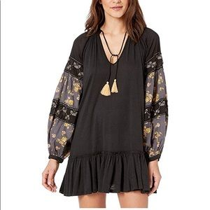 NEW Free People Black Embroidered Tunic